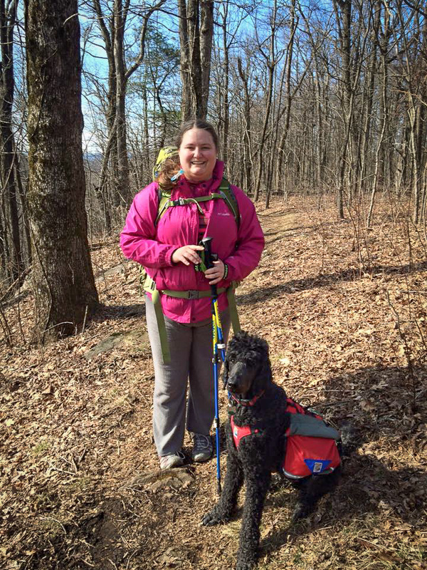 Hiking and backpacking with a dog. Groundbird Gear Made in USA lightweight durable dog hiking gear. Dog saddlebag. Custom tailor made dog harness.
