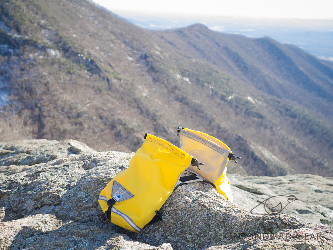 Groundbird Gear Trekking Dog Pack, yellow and grey on top of Three Ridges Mountain, Appalachian Trail, Central VA TATC section